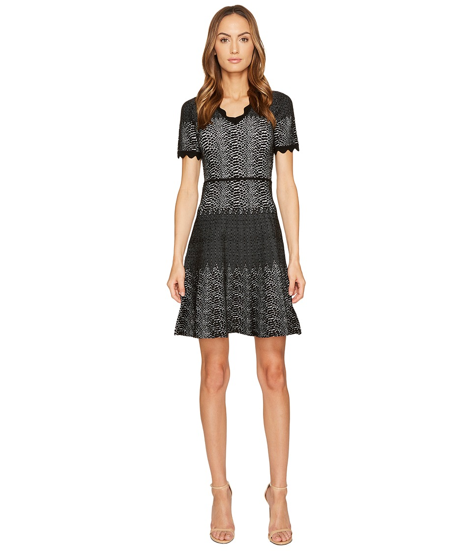 YIGAL AZROUEL Snakeskin Jacquard V-Neck Dress (Black) Women