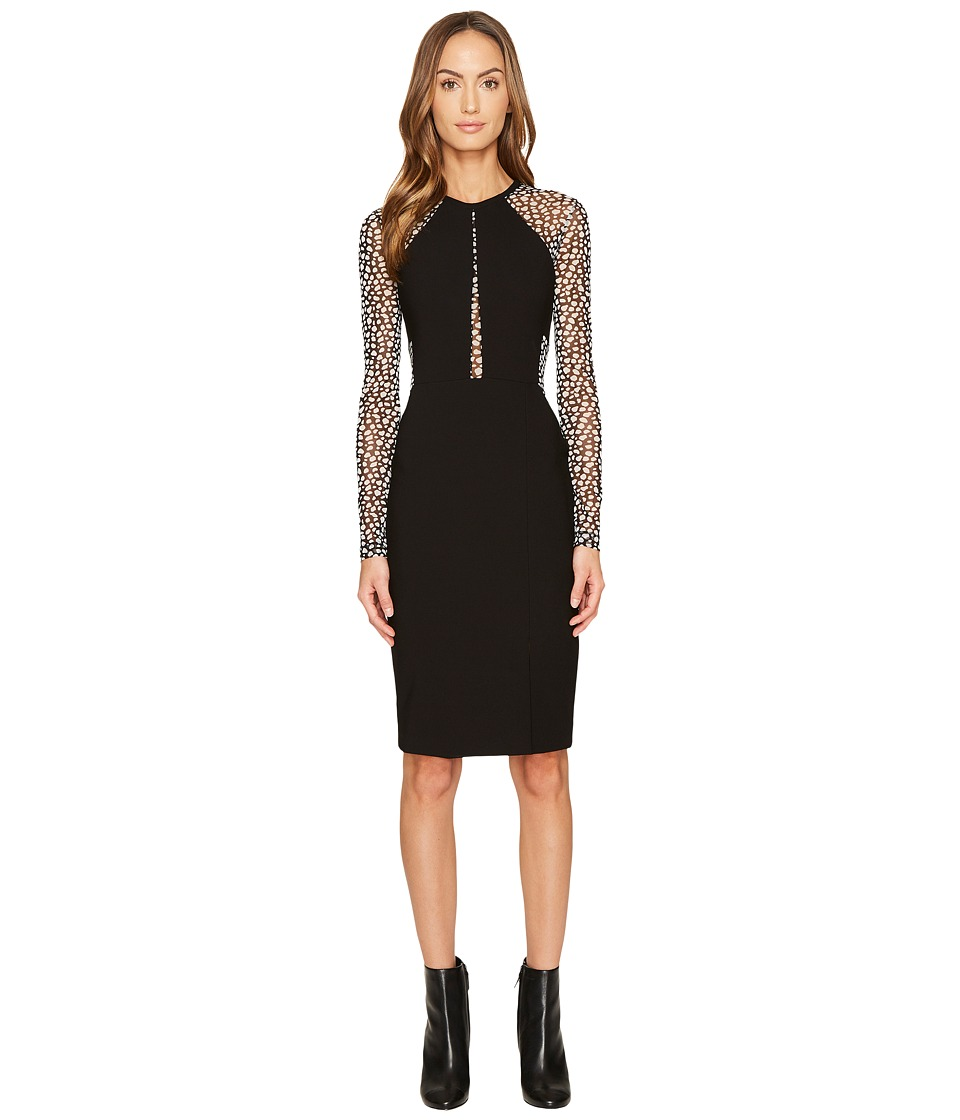 YIGAL AZROUEL Long Sleeve Mechanical Stretch Dress (Jet/Optic) Women