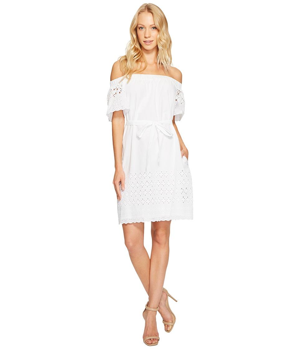 Donna Morgan Off Shoulder Dress with Eyelet Border (White) Women