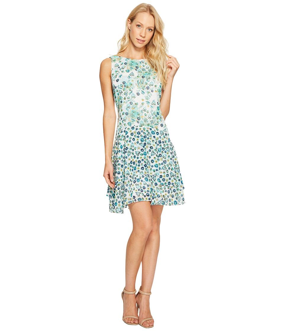 Donna Morgan Boat Neck Sleeveless Drop Waist Dress with Ruffle Skirt (Turquoise Multi) Women
