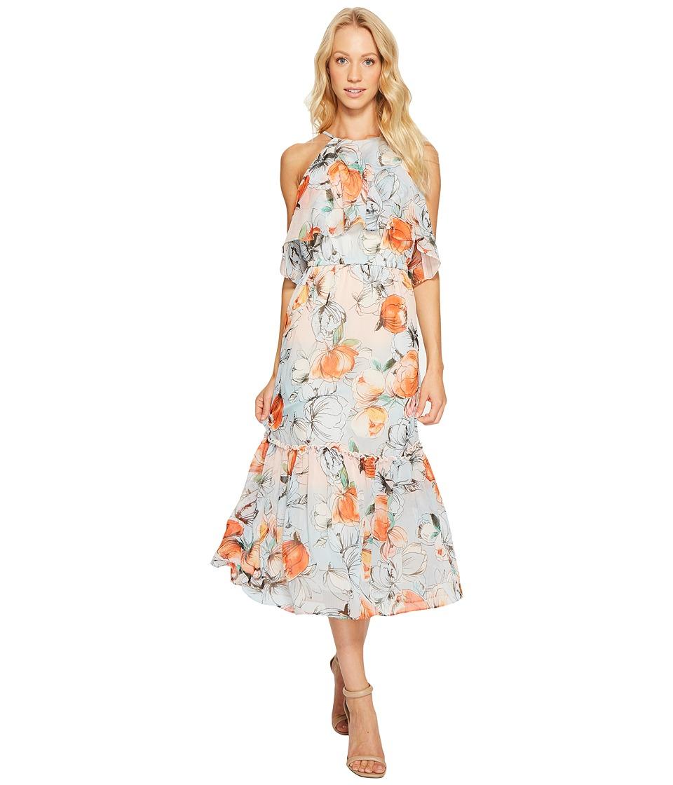 Donna Morgan Halter Neck Ruffle Midi Dress (Apricot/Multi) Women