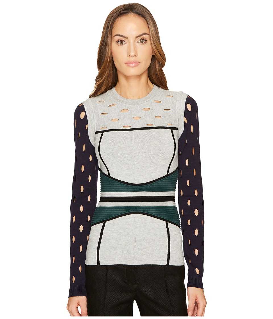 YIGAL AZROUEL - Color Block Pointelle Stitch Bustier Top