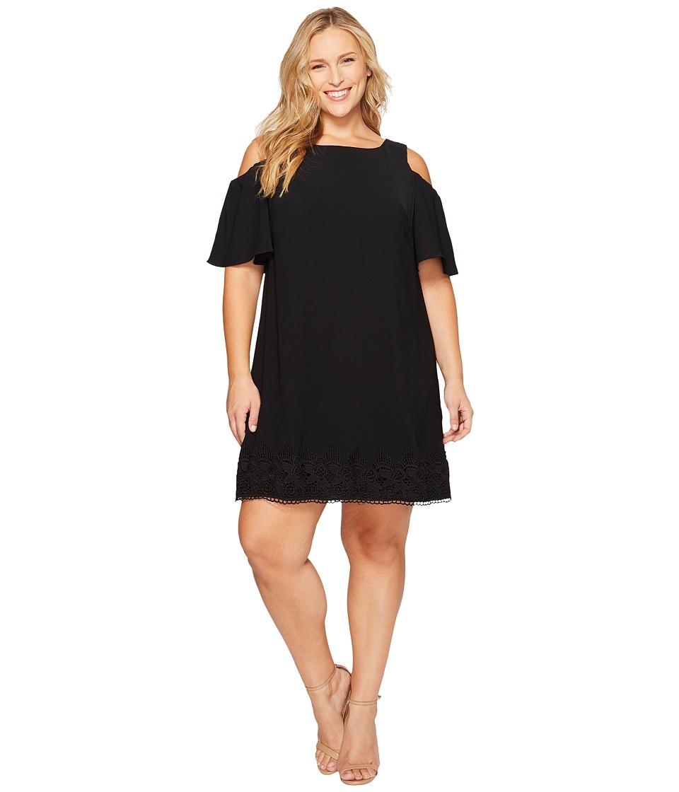 Adrianna Papell - Plus Size Gauzy Crepe Cold Shoulder Shift Dress