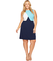Adrianna Papell - Plus Size Cut Away Neckline Stretch Crepe Color Blocked A-Line Dress