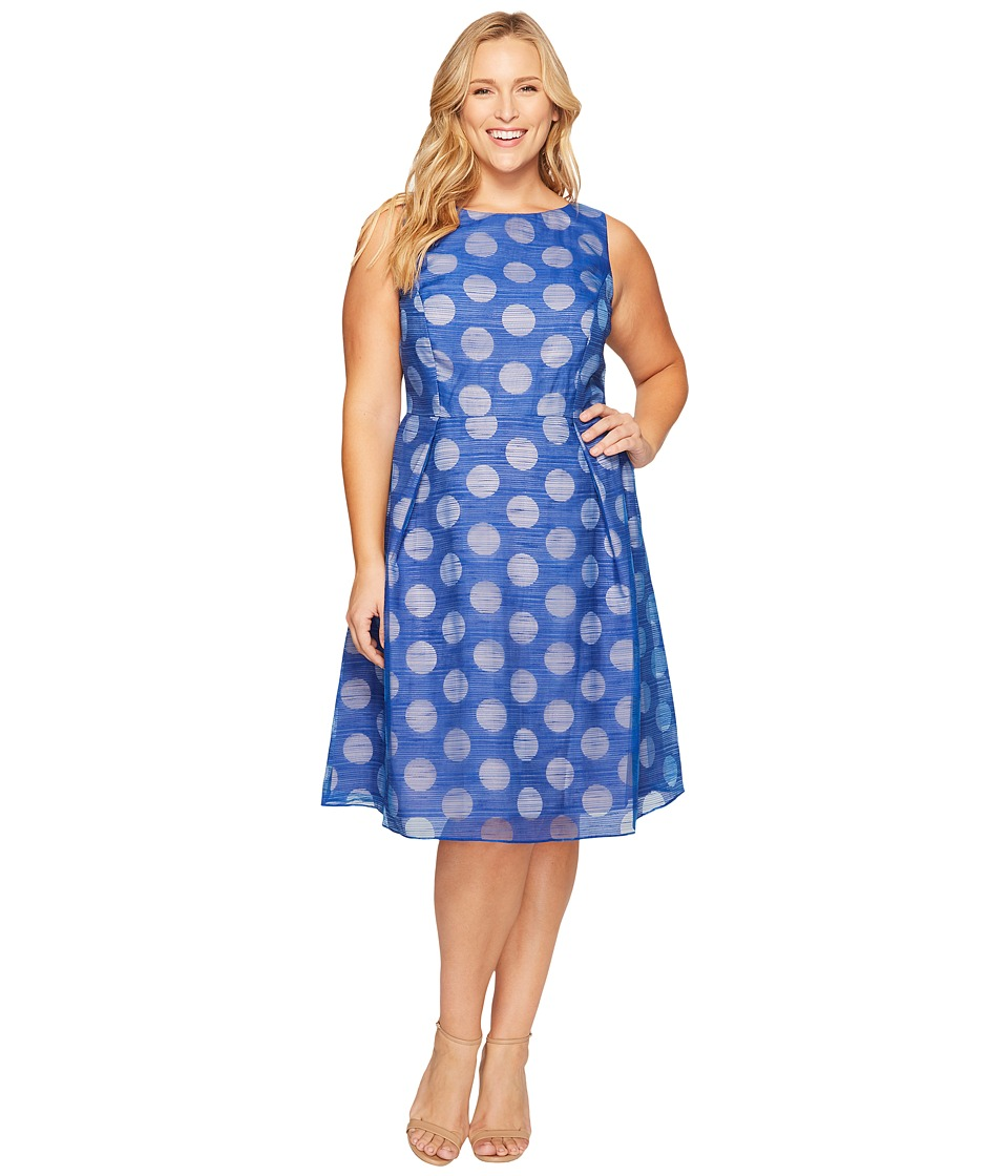 Adrianna Papell - Plus Size Pop Dot Burnout Sleeveless Fit and Flare