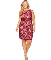 Adrianna Papell - Plus Size Lace Sheath with Nude Lining