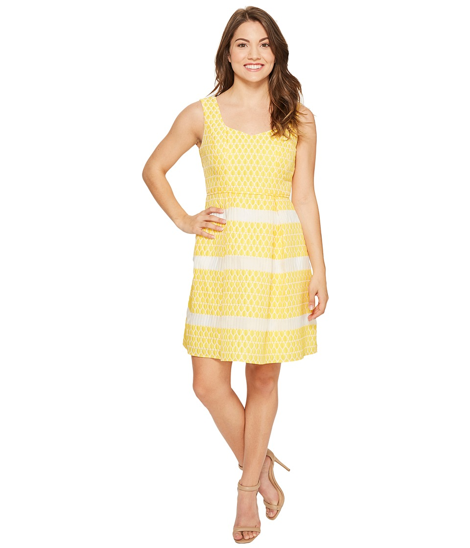 Adrianna Papell - Petite Lemon Drop Jacquard Fit and Flare Dress
