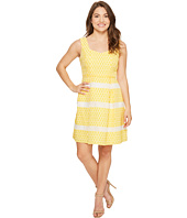 Adrianna Papell - Petite Lemon Drop Jacquard Fit and Flare Dress