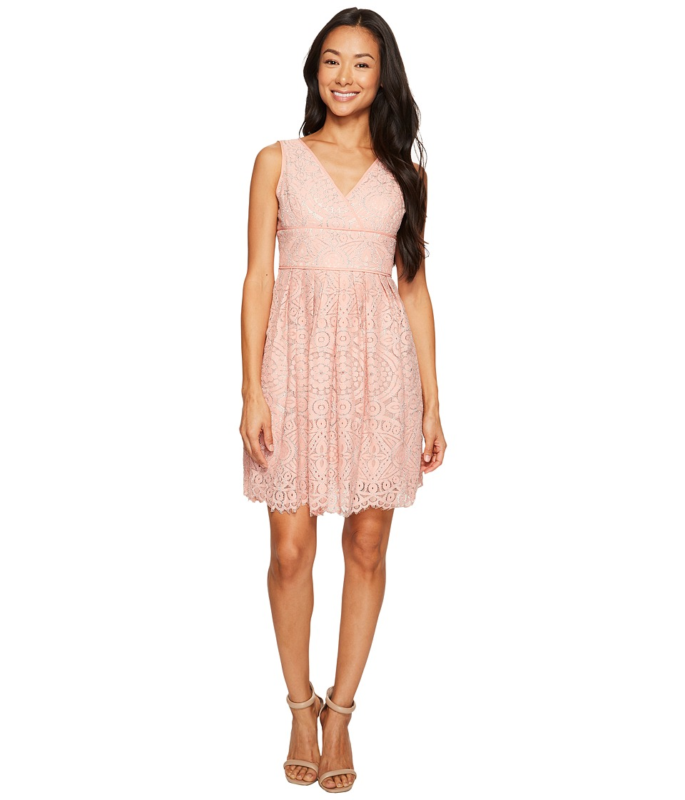 Adrianna Papell Petite Ella Mosaic Lace V-Neck Fit and Flare Dress (Cantelope/Almond) Women