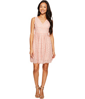 Adrianna Papell - Petite Ella Mosaic Lace V-Neck Fit and Flare Dress