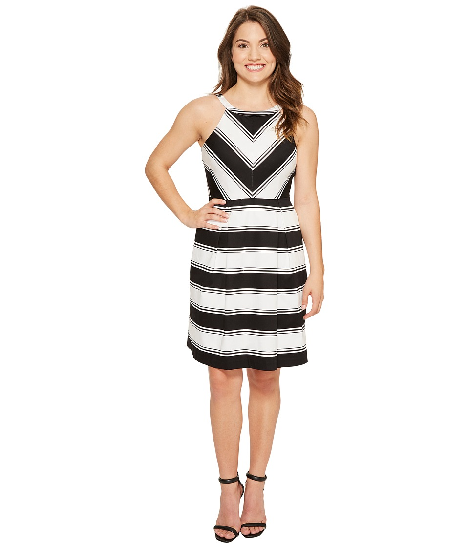Adrianna Papell Petite Printed Stretch Cotton Halter Neck Fit and Flare (Black/White) Women
