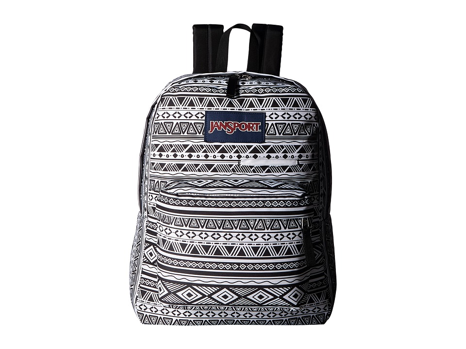 JanSport Digibreak (Black/White Jazzy Geo) Backpack Bags