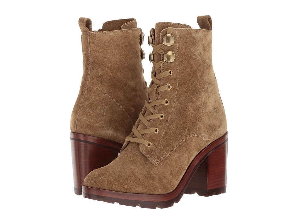 Retro Boots, Granny Boots, 70s Boots Frye Myra Lug Combat Sand Soft Oiled Suede Womens Lace-up Boots $398.00 AT vintagedancer.com