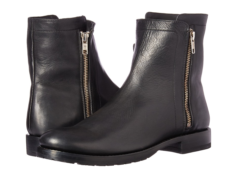 Frye Natalie Double Zip (Black Polished Soft Full Grain) Women