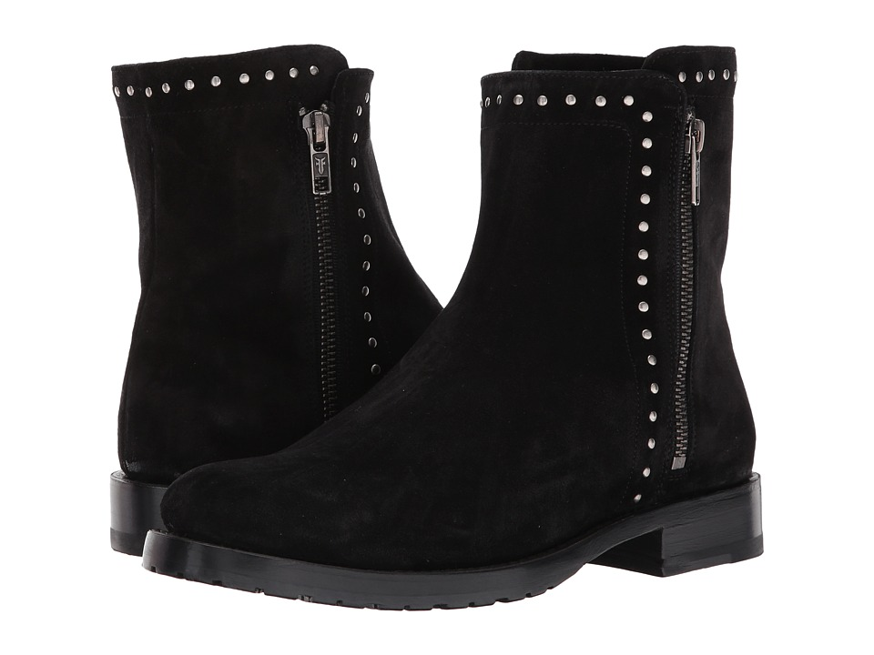Frye Natalie Stud Double Zip (Black Soft Oiled Suede) Women