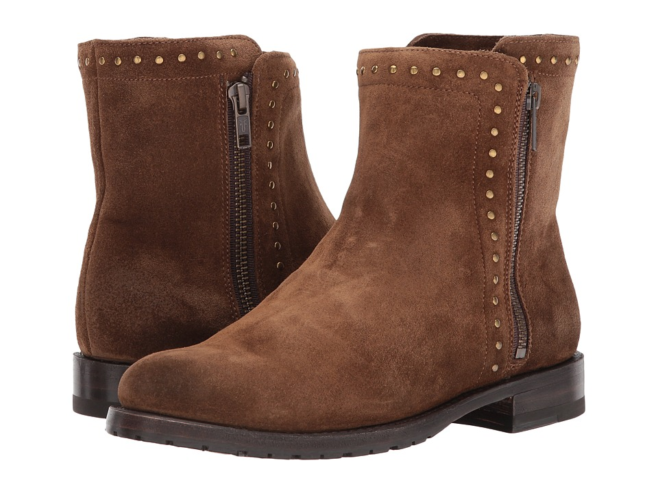 Frye Natalie Stud Double Zip (Chestnut Soft Oiled Suede) Women
