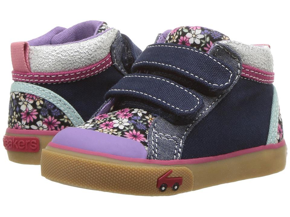 See Kai Run Kids Kya (Toddler) (Dark Blue/Multi Floral) Girl's Shoes