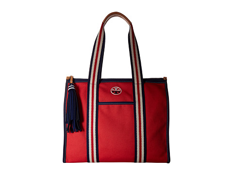 Tory Burch Embroidered-T Tote - Cherry Apple