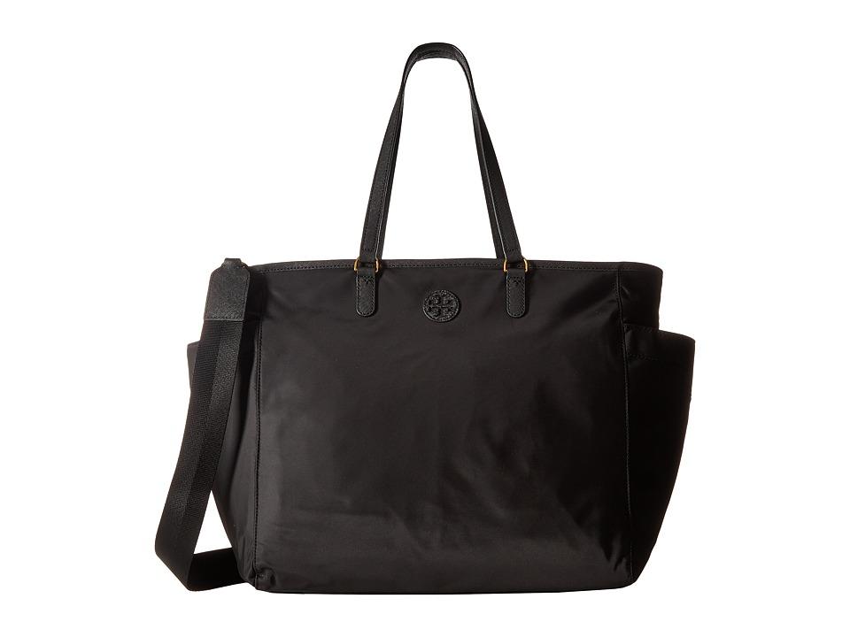 Tory Burch Scout Nylon Baby Bag Tote (Black) Tote Handbags