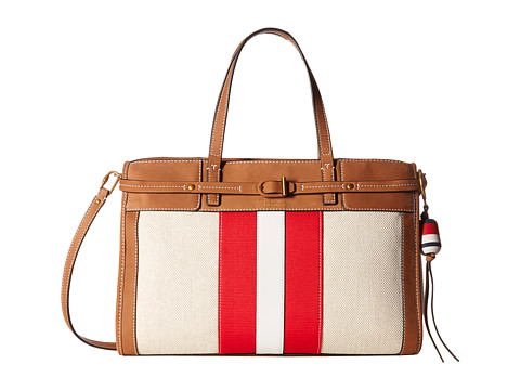 Tory Burch Canvas & Suede Satchel - Natural/New Ivory/Nut