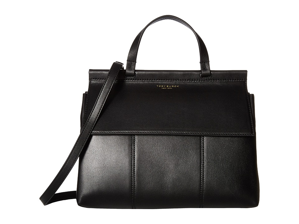 Tory Burch Block-T Satchel (Black/Black) Satchel Handbags
