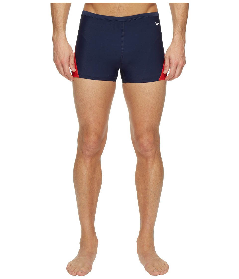 Nike Surge Color Block Poly Square Leg Brief (Red/Navy) M...