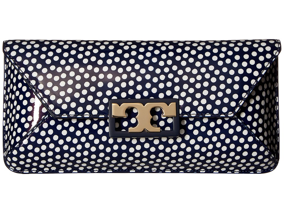 Tory Burch Gigi Printed Patent Clutch (Nautical Dots Small) Clutch Handbags