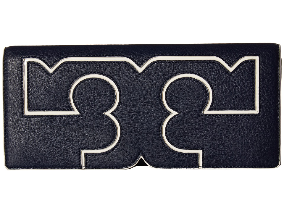 Tory Burch Serif Clutch (Royal Navy) Clutch Handbags