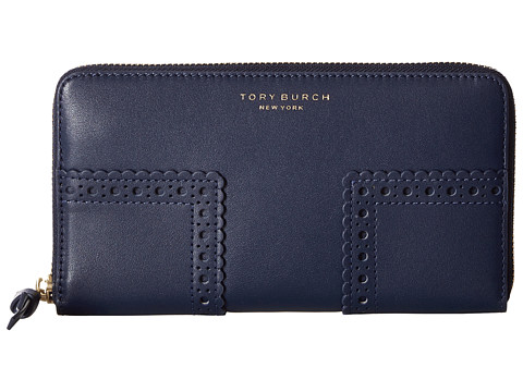 Tory Burch Block-T Brogue Zip Continental Wallet