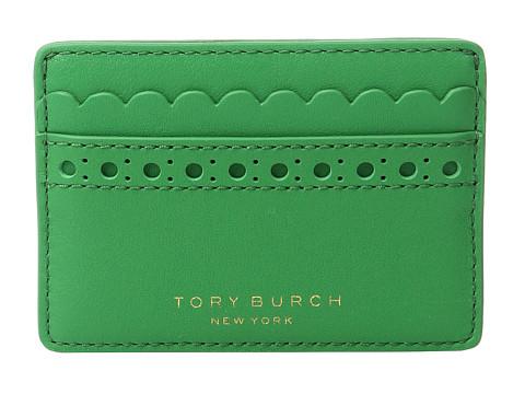 Tory Burch Block-T Brogue Slim Card Case - Court Green