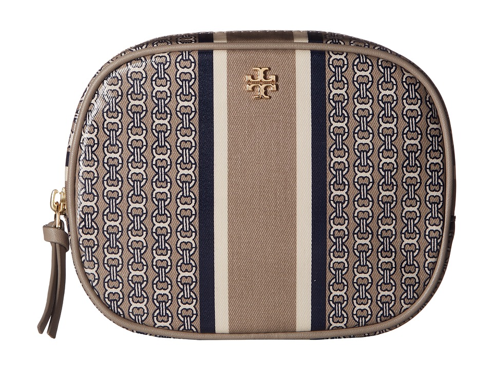 Tory Burch Gemini Link Cosmetic Case (French Gray Gemini Link Stripe) Cosmetic Case