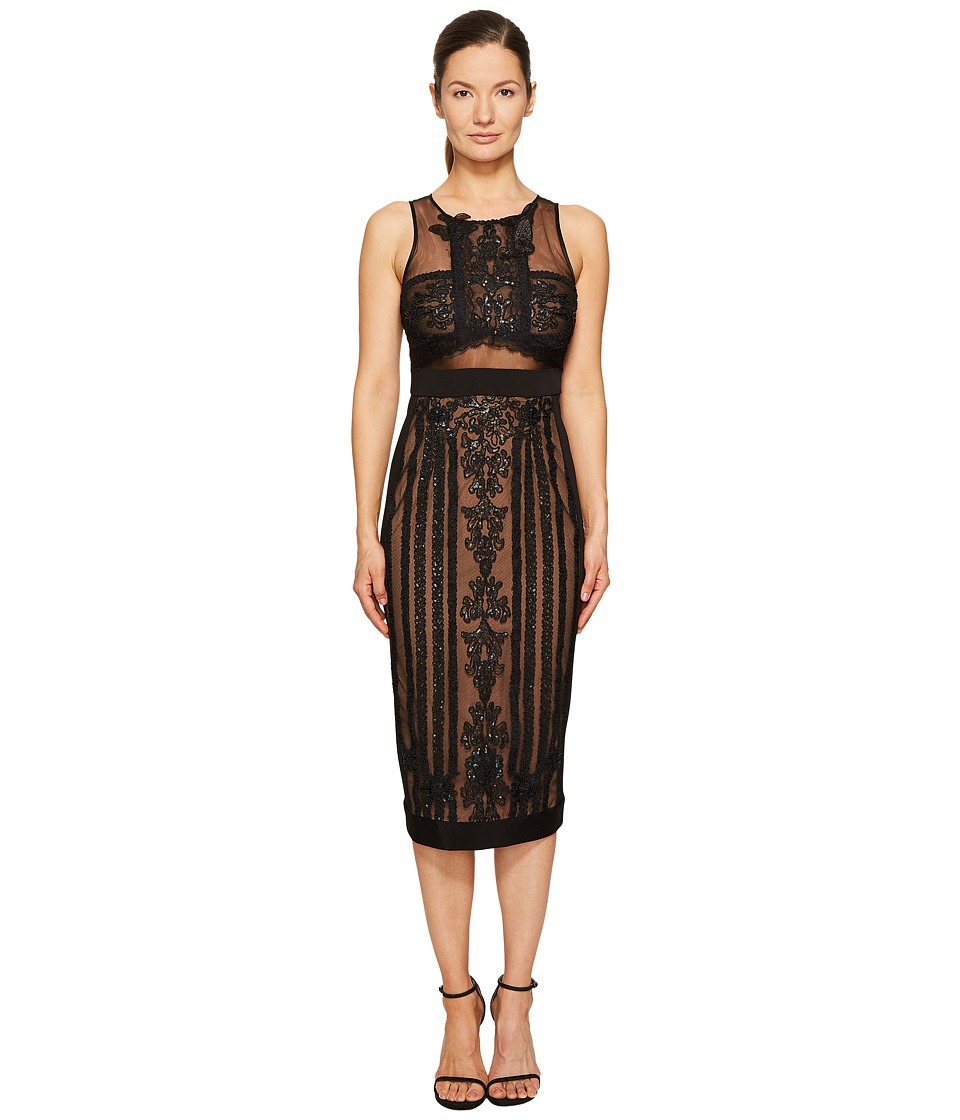 Marchesa Notte Sleeveless Embroidered Cocktail w/ Stretch Crepe Panel Combo (Black) Women