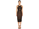 Marchesa Notte - Sleeveless Embroidered Cocktail w/ Stretch Crepe Panel Combo