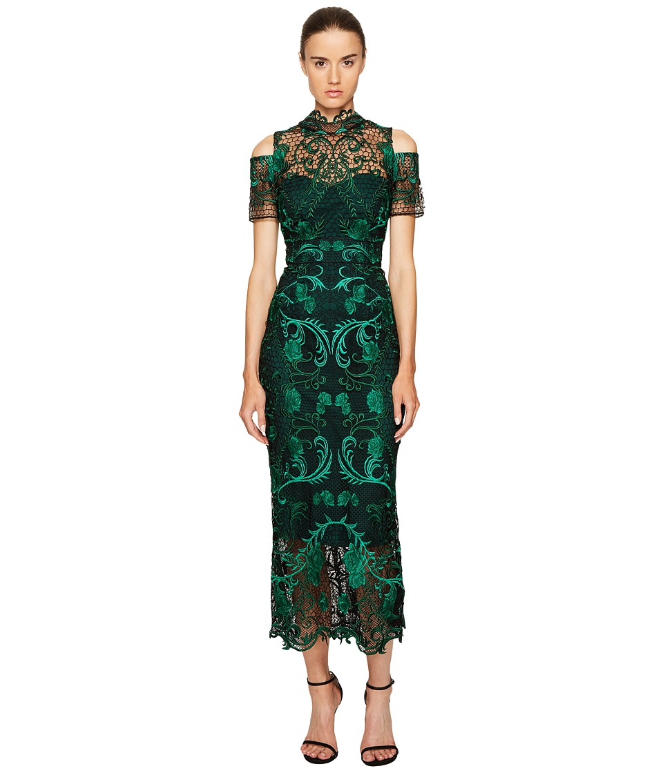 Marchesa Notte Guipure Lace Ankle Length Cocktail w/ Cold Shoulder (Green) Women