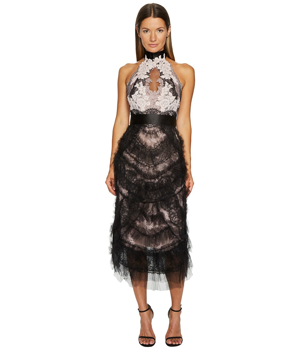 Marchesa - Tea Length Cocktail with Corded Lace and Chantilly (Black/Blush) Womens Dress
