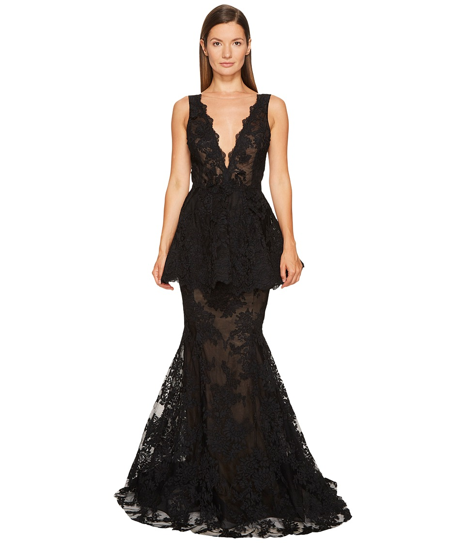 Marchesa Plunging V-Neck Fit and Flare Gown in Corded Lace (Black) Women