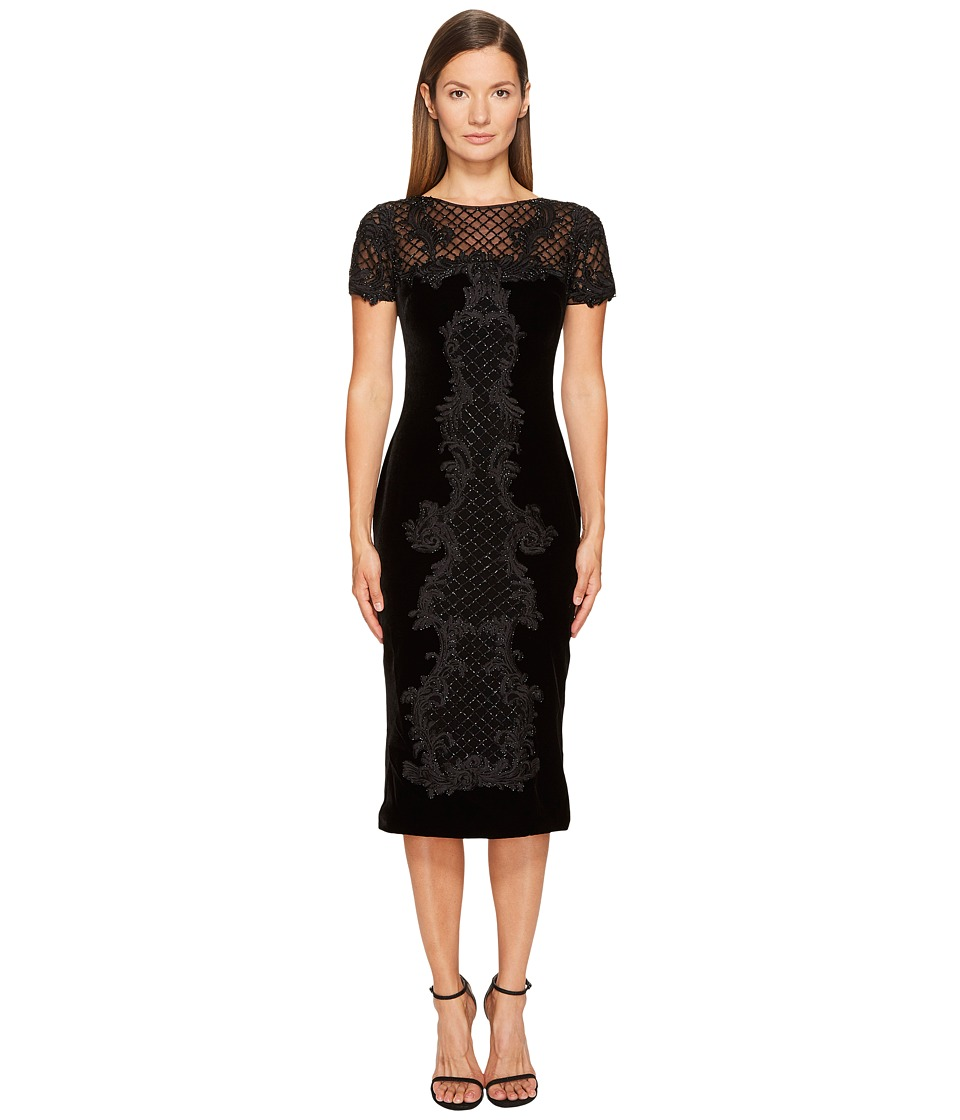 Marchesa - Crew Neck Cocktail in Stretch Velvet (Black/Gold) Womens Dress