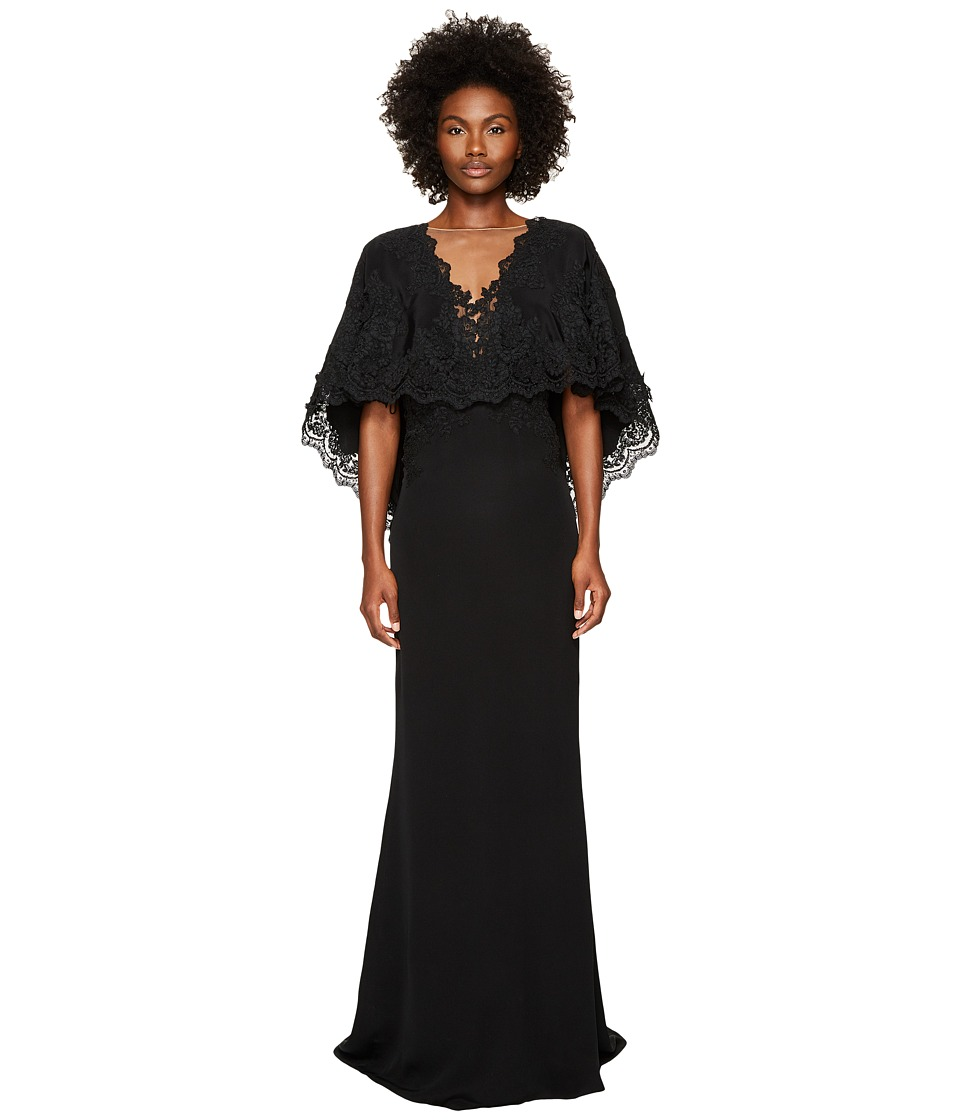 Marchesa - Plunging V-Neck Capelet (Black) Womens Dress