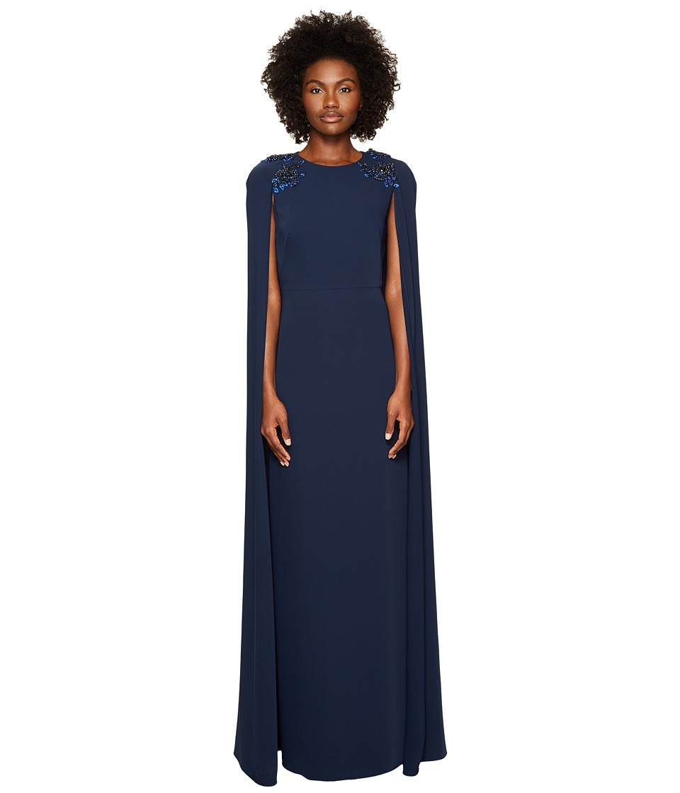 Marchesa Notte Stretch Crepe Cape Gown w/ Beaded Shoulders (Navy) Women