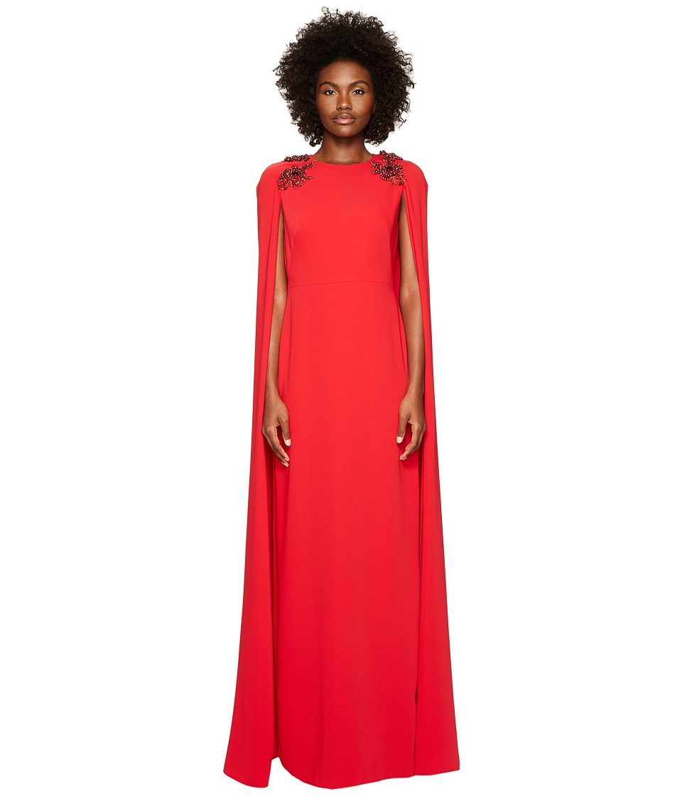 Marchesa Notte Stretch Crepe Cape Gown w/ Beaded Shoulders (Red) Women