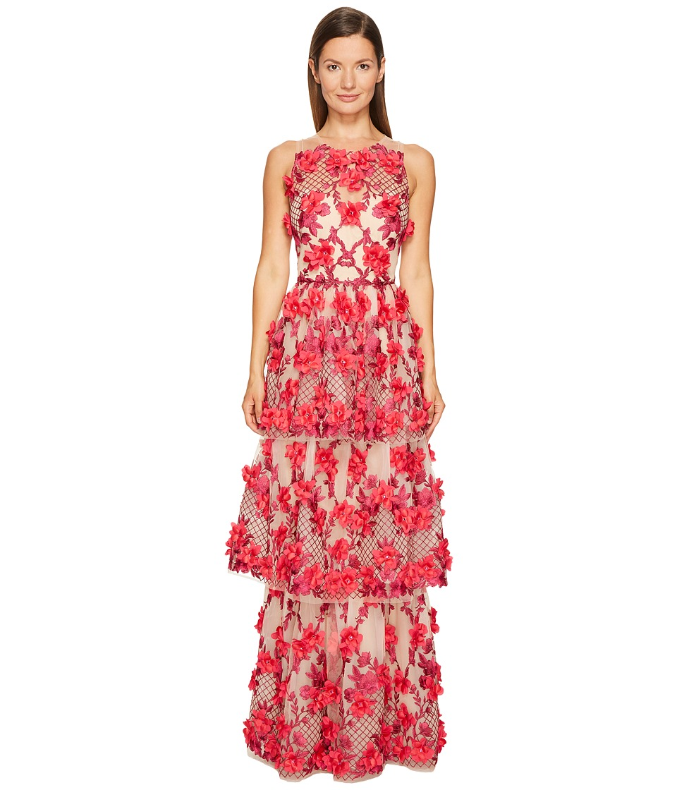 Marchesa Notte 3D Embroidered Gown w/ Sleeveless Bodica and Two Tiered Skirt (Fuschia) Women