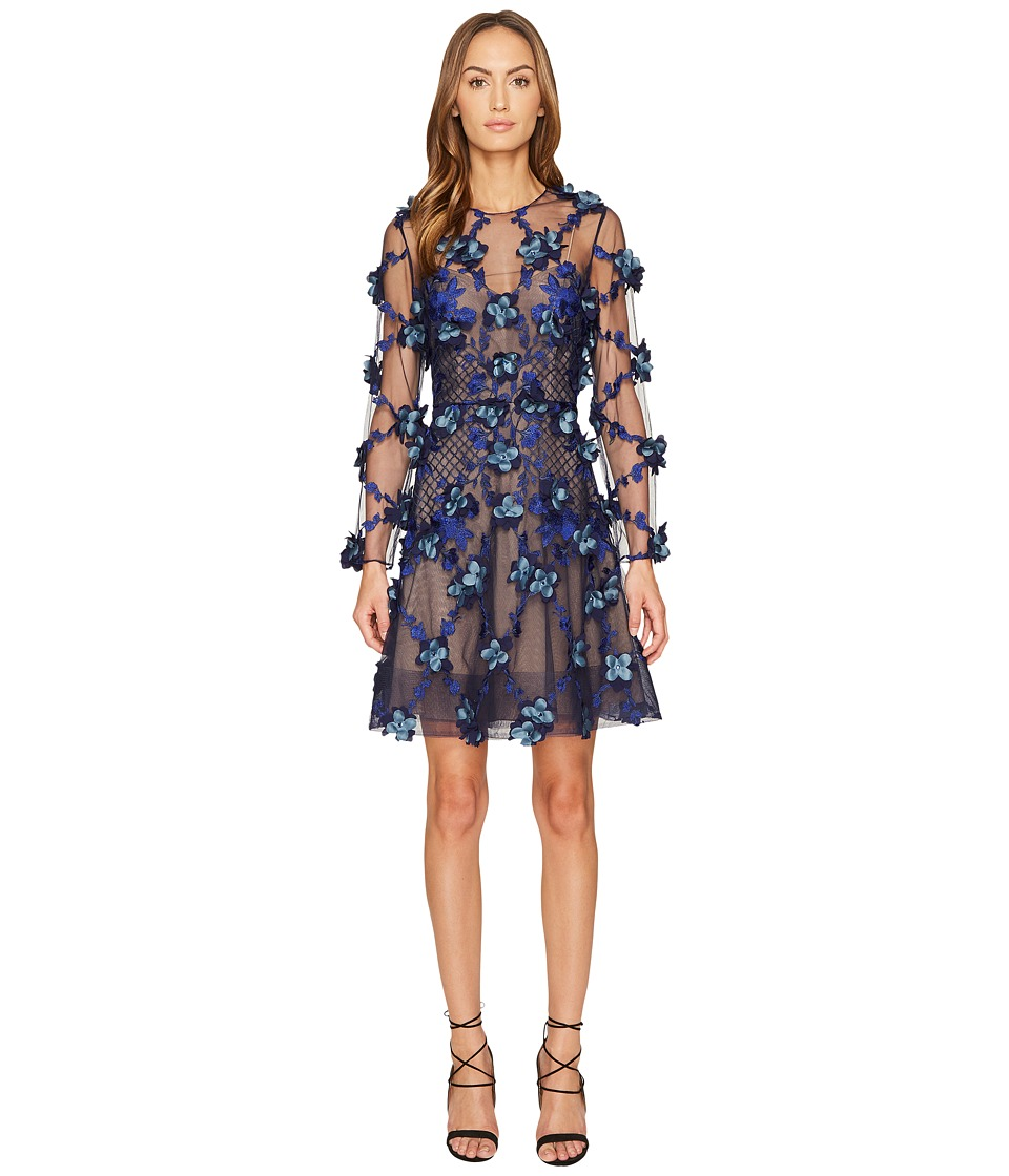 Marchesa Notte 3D Embroidered Long Sleeve Cocktail (Navy) Women