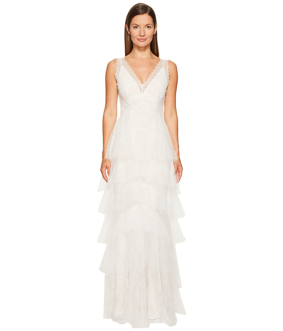 Marchesa Notte Lace Gown w/ Tiered Point-D