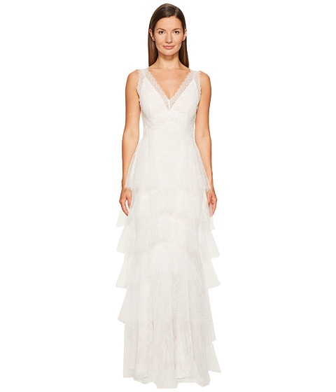 Marchesa Notte Lace Gown w/ Tiered Point-D'esprit and Tulle Skirt