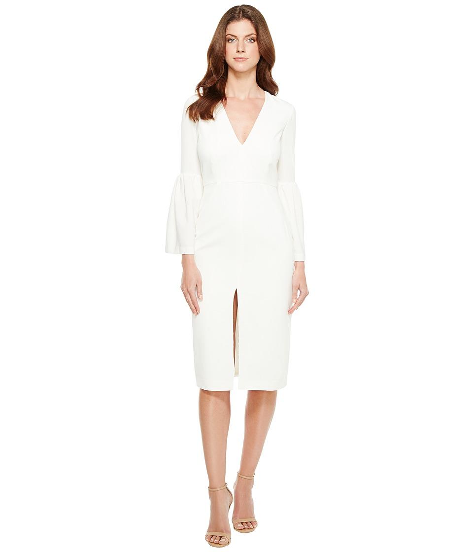 JILL JILL STUART Deep V-Neck Bell Sleeve Midi (Off-White) Women