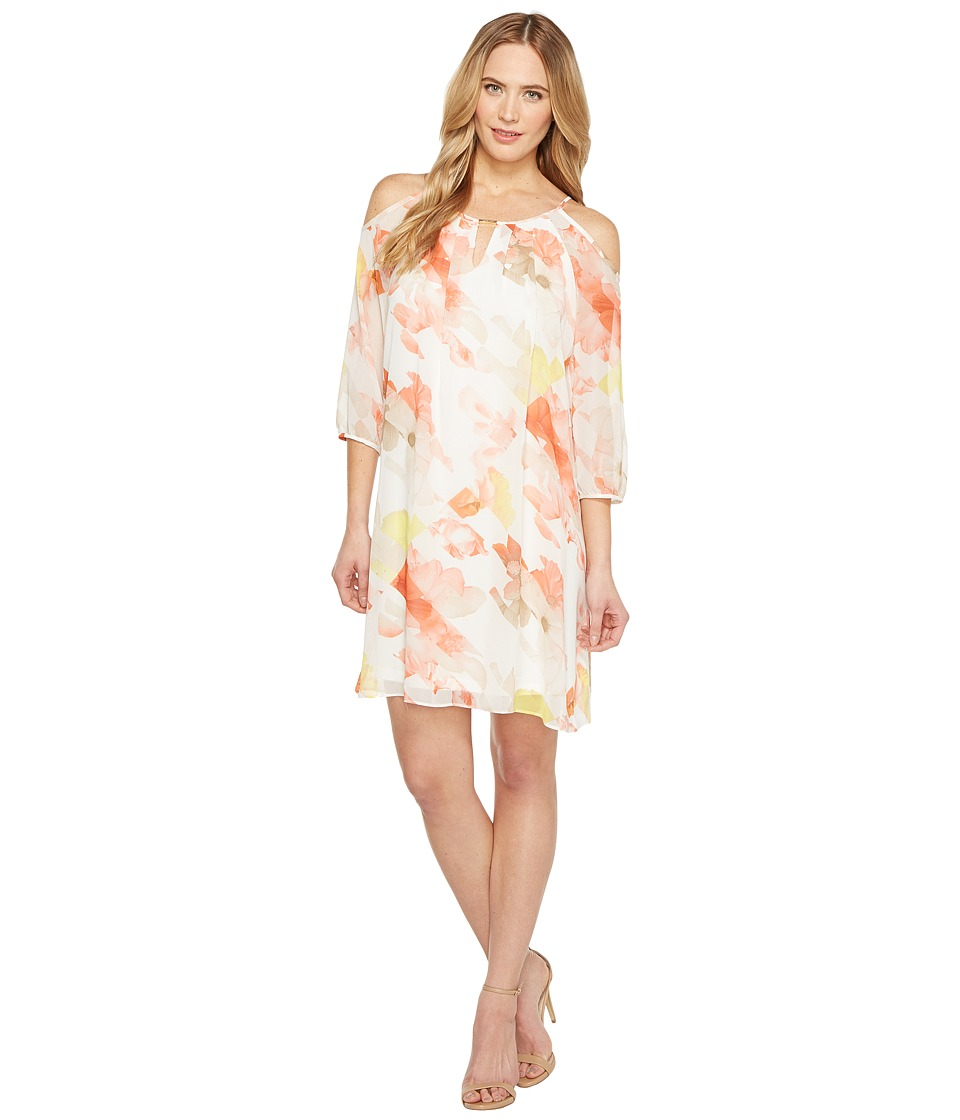 Calvin Klein Cold Shoulder with Keyhole Dress (Porcelain Rose/Soft White Multi) Women
