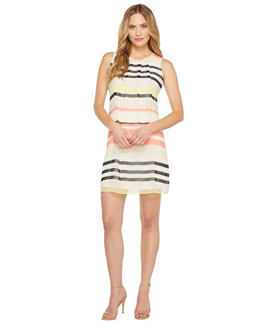 Calvin Klein Pleat Front A-Line Dress (Porcelain Rose/Latte Multi) Women