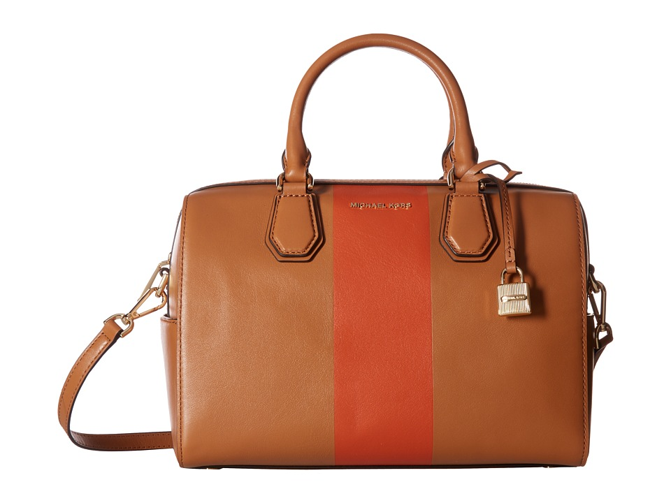 MICHAEL Michael Kors Center Stripe Mercer Medium Duffel (Acorn/Orange) Duffel Bags