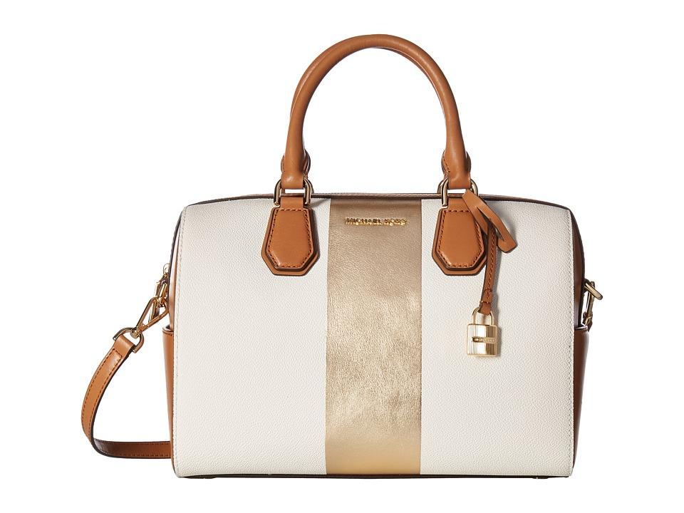 MICHAEL Michael Kors Center Stripe Mercer Medium Duffel (Vanilla) Duffel Bags