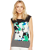 Calvin Klein - Mixed Media Print and Striped Top